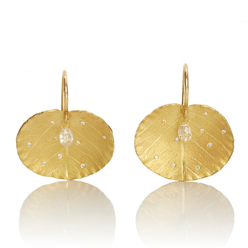 Barbara Heinrich Lotus Leaf & Diamond Briolette Earrings