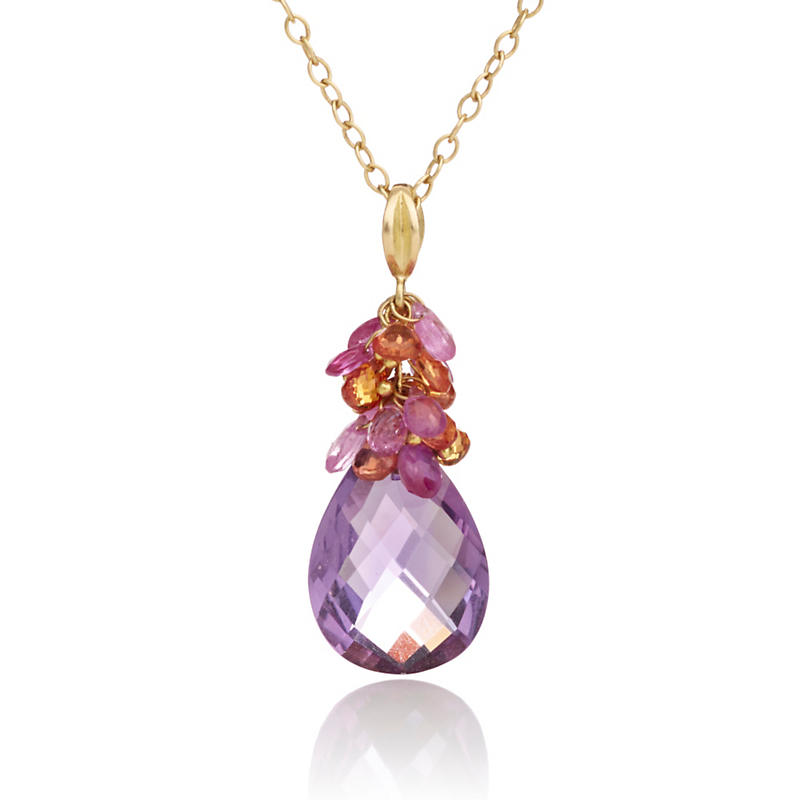 Barbara Heinrich Sapphire Briolette & Amethyst Pear Drop Necklace