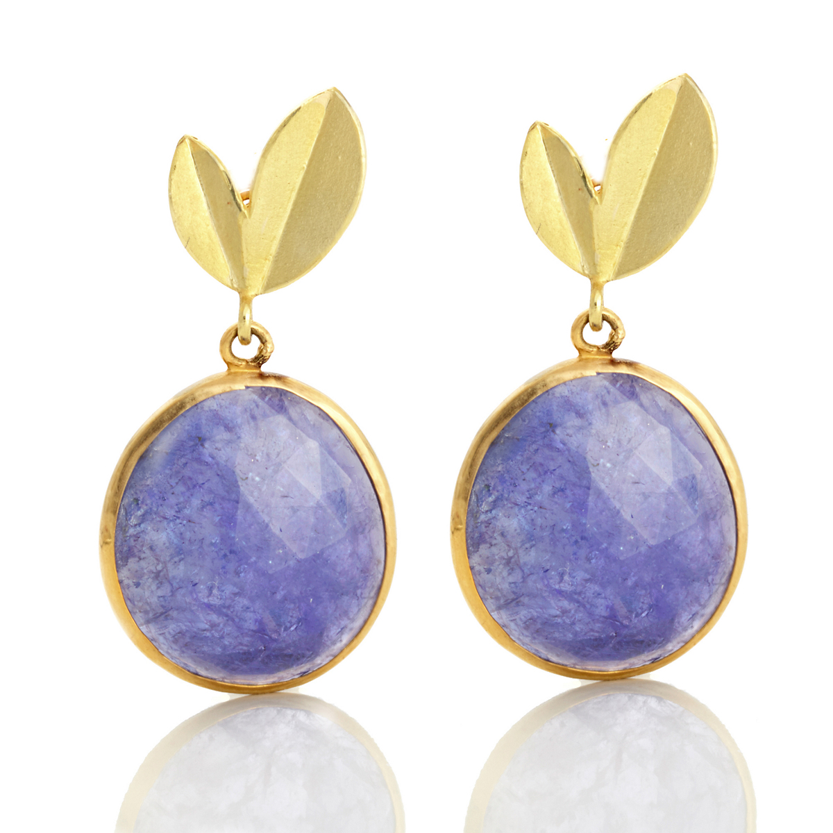 Barbara Heinrich Two Leaf Top Tanzanite Rose Cut Earrings