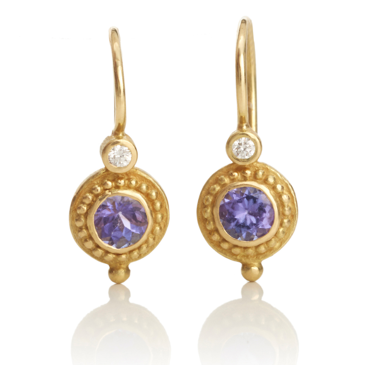Barbara Heinrich Petite Tanzanite & Diamond Circle Earrings