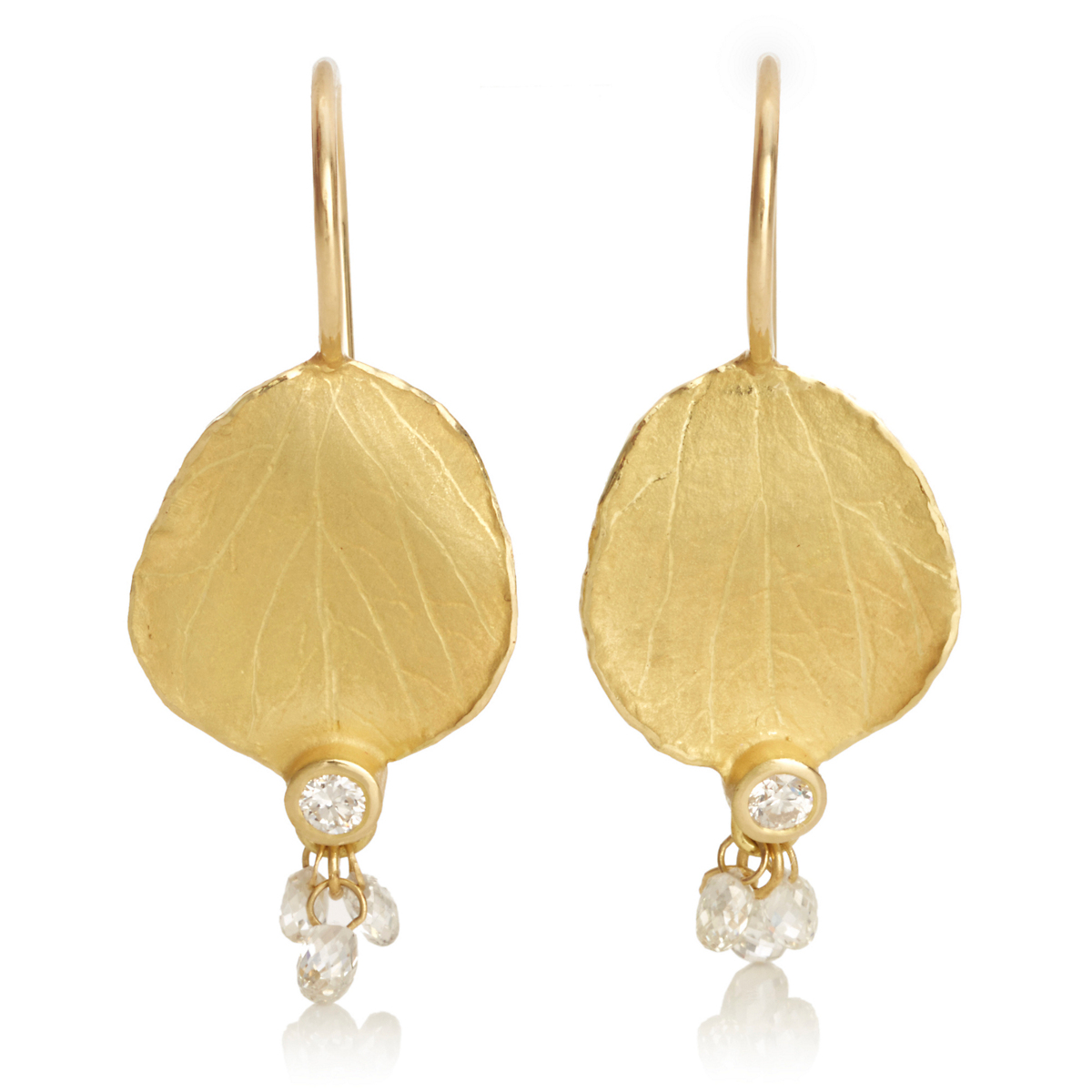Barbara Heinrich Hydrangea Petal & Diamond Briolette Earrings