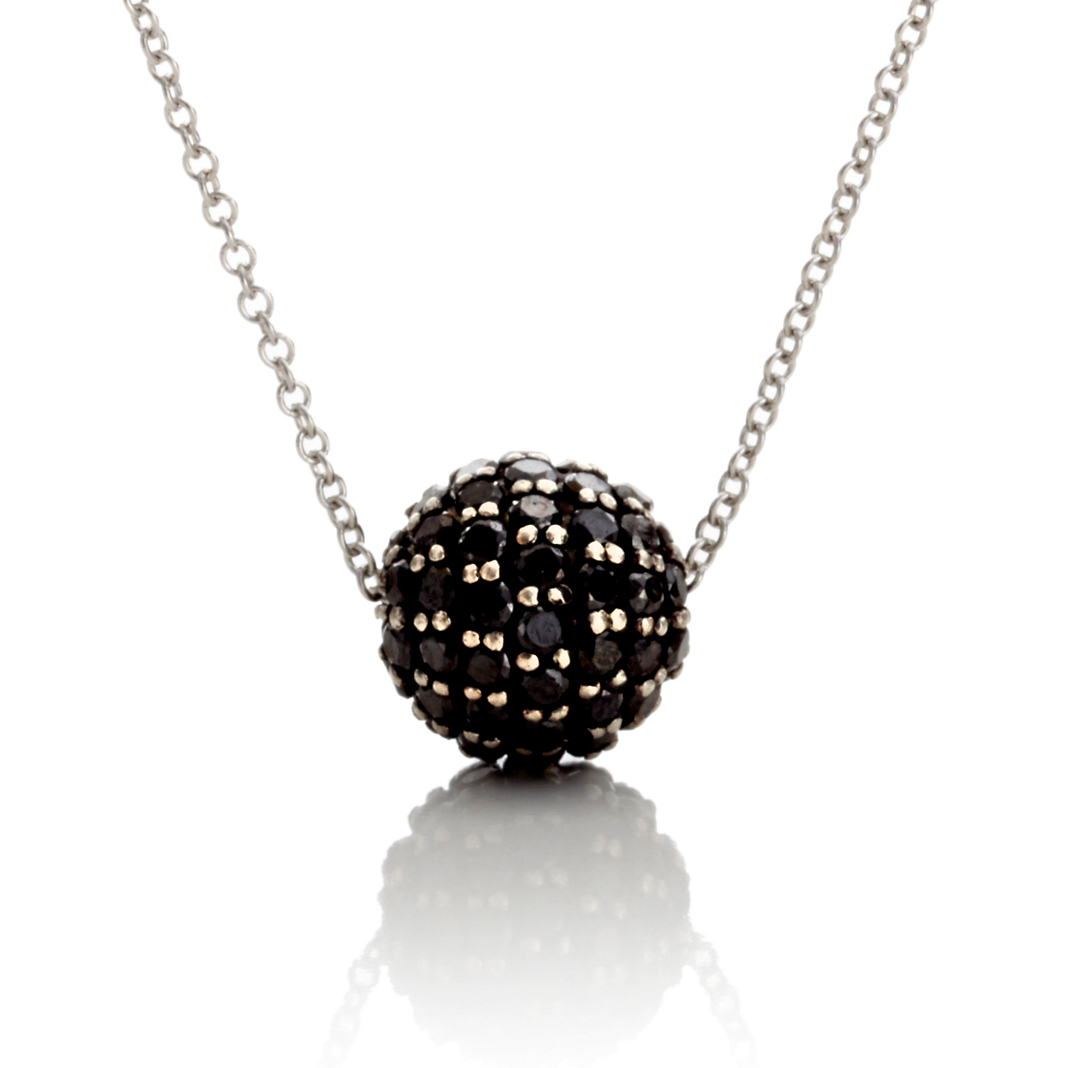 Gump's Black Diamond Bead & White Gold Necklace