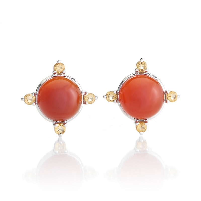 Gump's Carnelian Cabochon & Citrine 4 Point Earrings