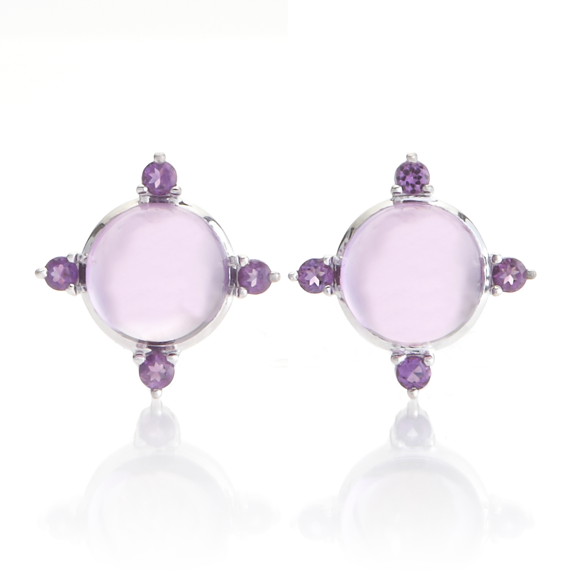 Gump's Cabochon & Faceted Amethyst Four Points Earrings