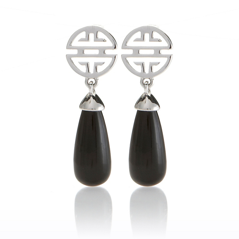Gump's Silver Shou & Onyx Drop Earrings
