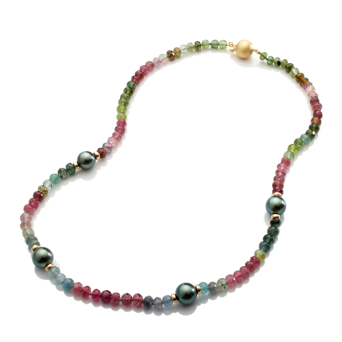 Gump's Multicolor Tourmaline & Tahitian Pearl Necklace