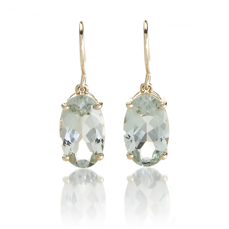 Gump's Faceted Green Quartz Oval Drop Gold Earrings