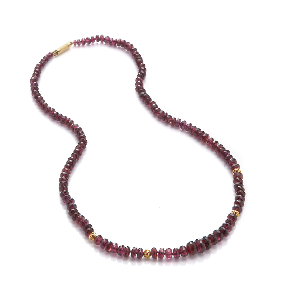 Gump's Graduated Rhodolite Garnet Rondelle Gold Necklace