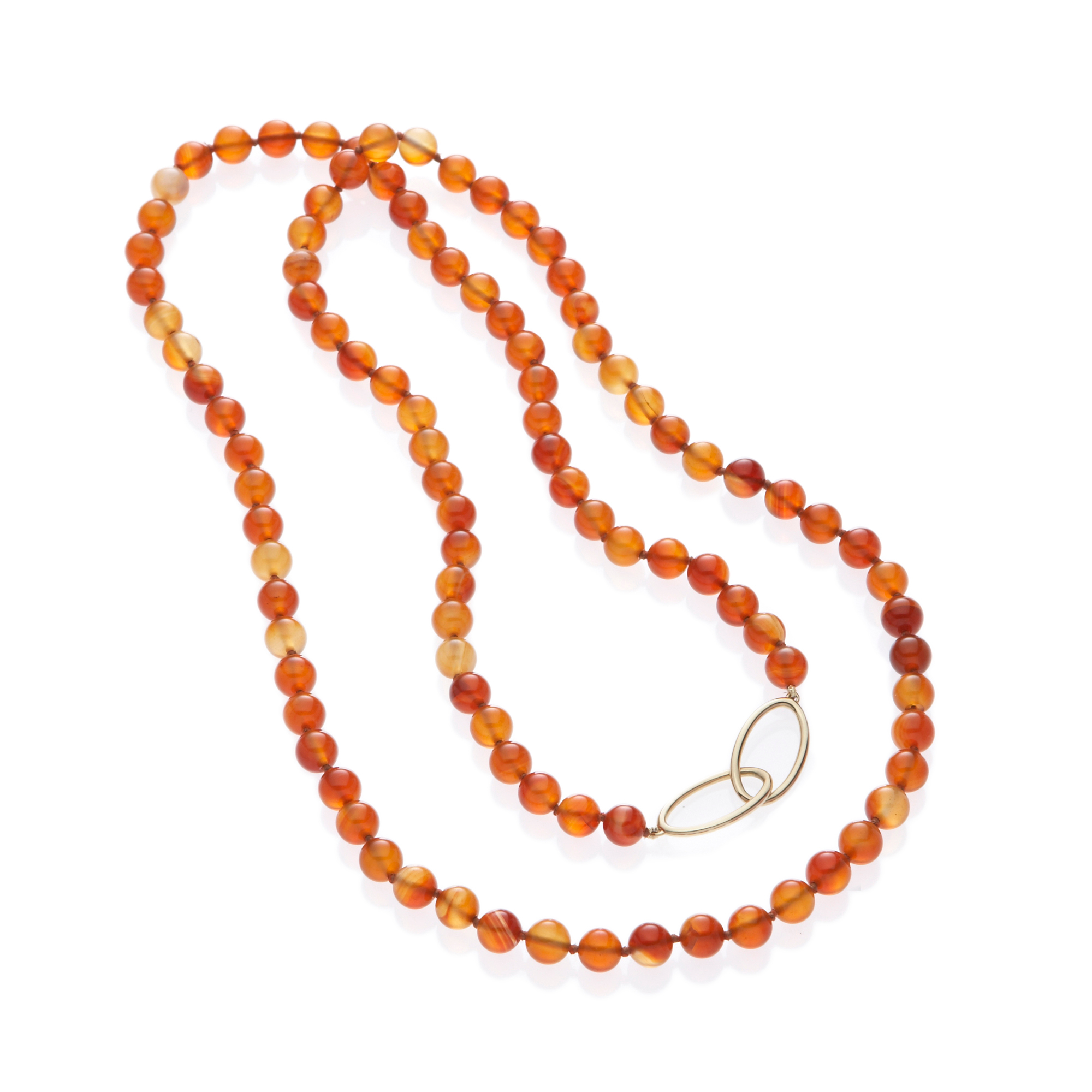 Gump's Carnelian & Gold Double Oval Rope