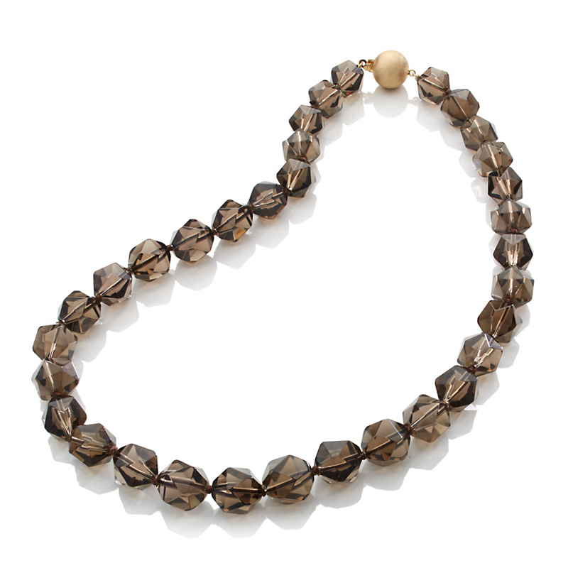 Gump's Multifaceted Smokey Quartz & Gold Necklace