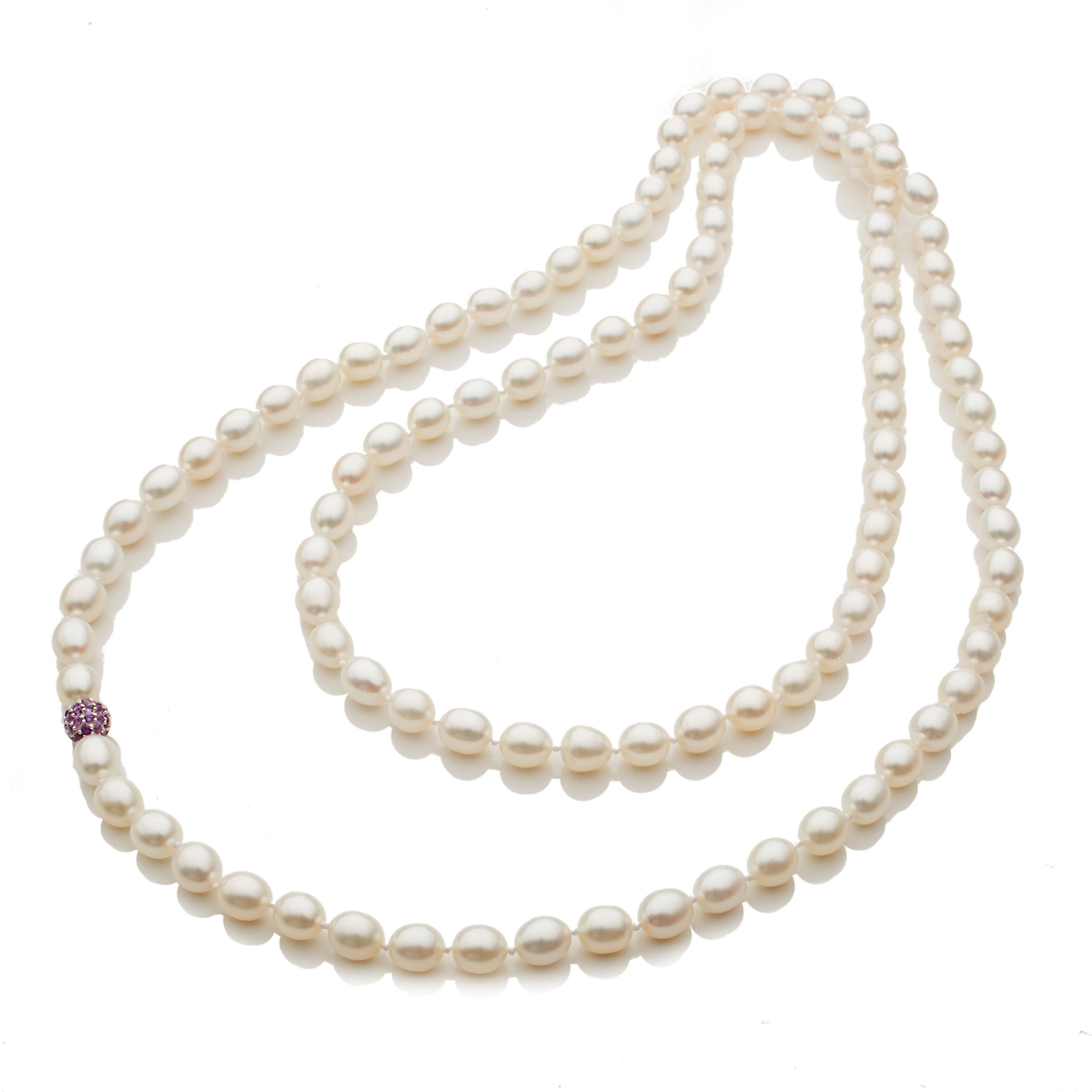 Gump's Freshwater Oval Pearl & Pavé Amethyst Bead Rope