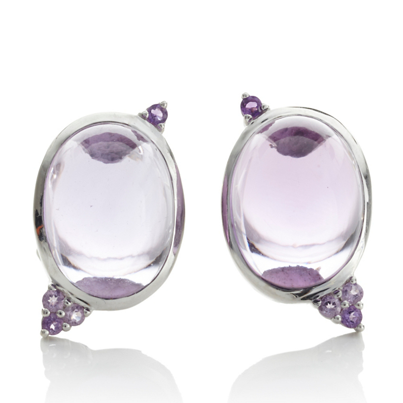 Gump's Light Amethyst Cabochon Spring Earrings