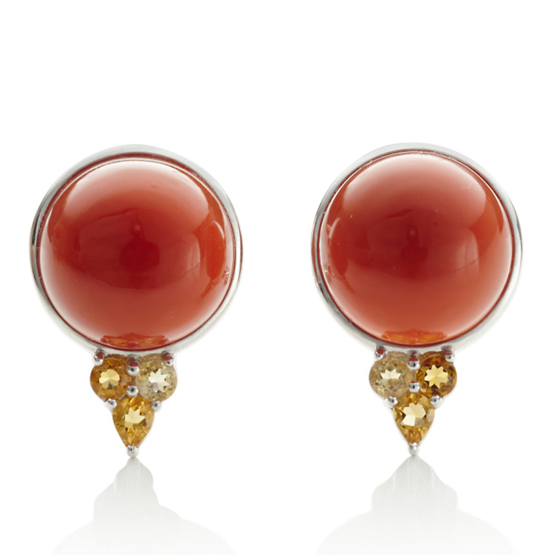 Gump's Large Carnelian Cabochon & Citrine Earrings