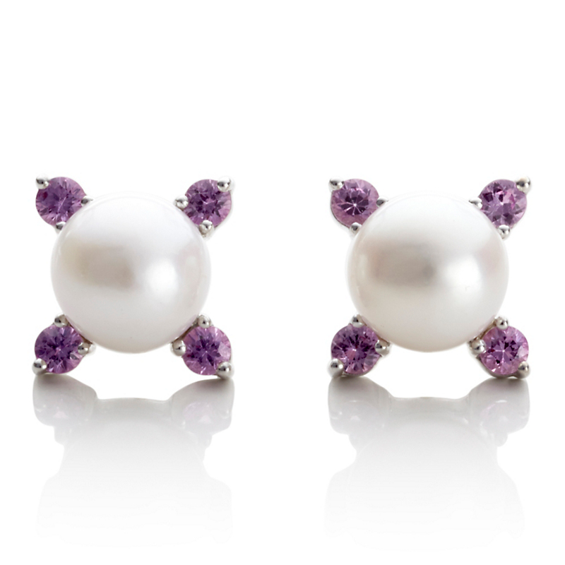 Gump's Four Point Pearl & Pink Sapphire Silver Earrings