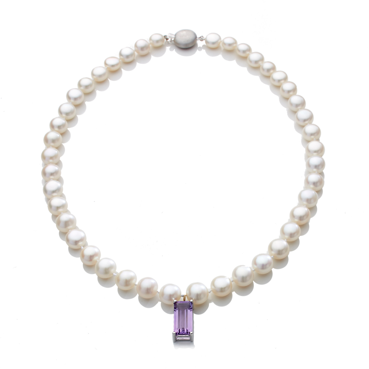 Gump's Freshwater Pearl & Amethyst Drop Silver Necklace