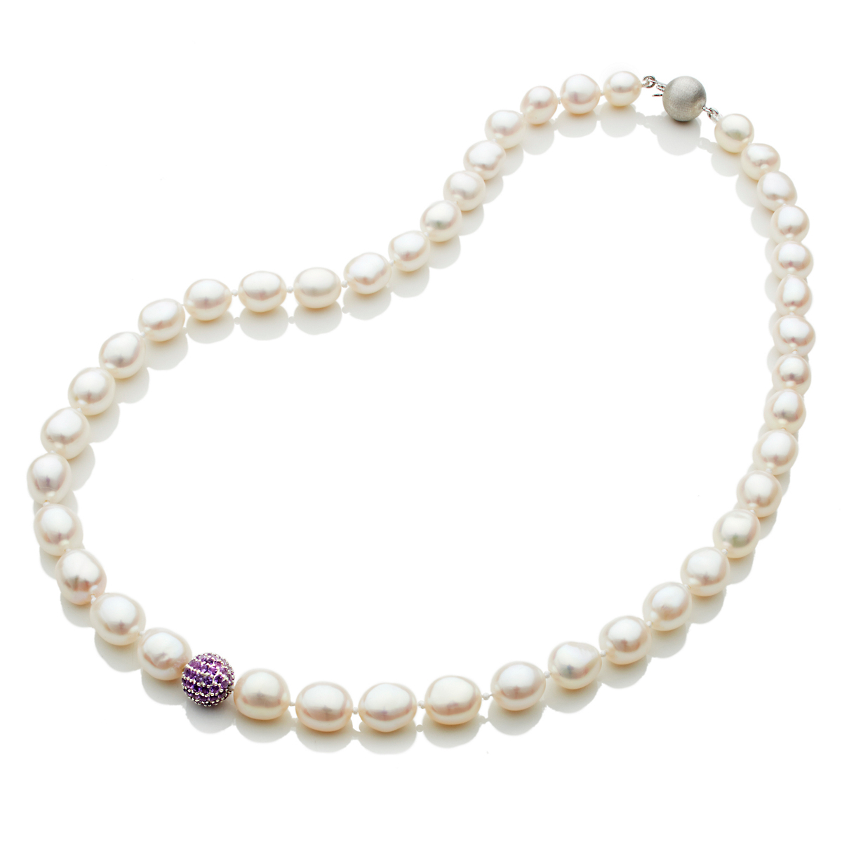 Gump's Freshwater Pearl & Pavé Amethyst Bead Necklace