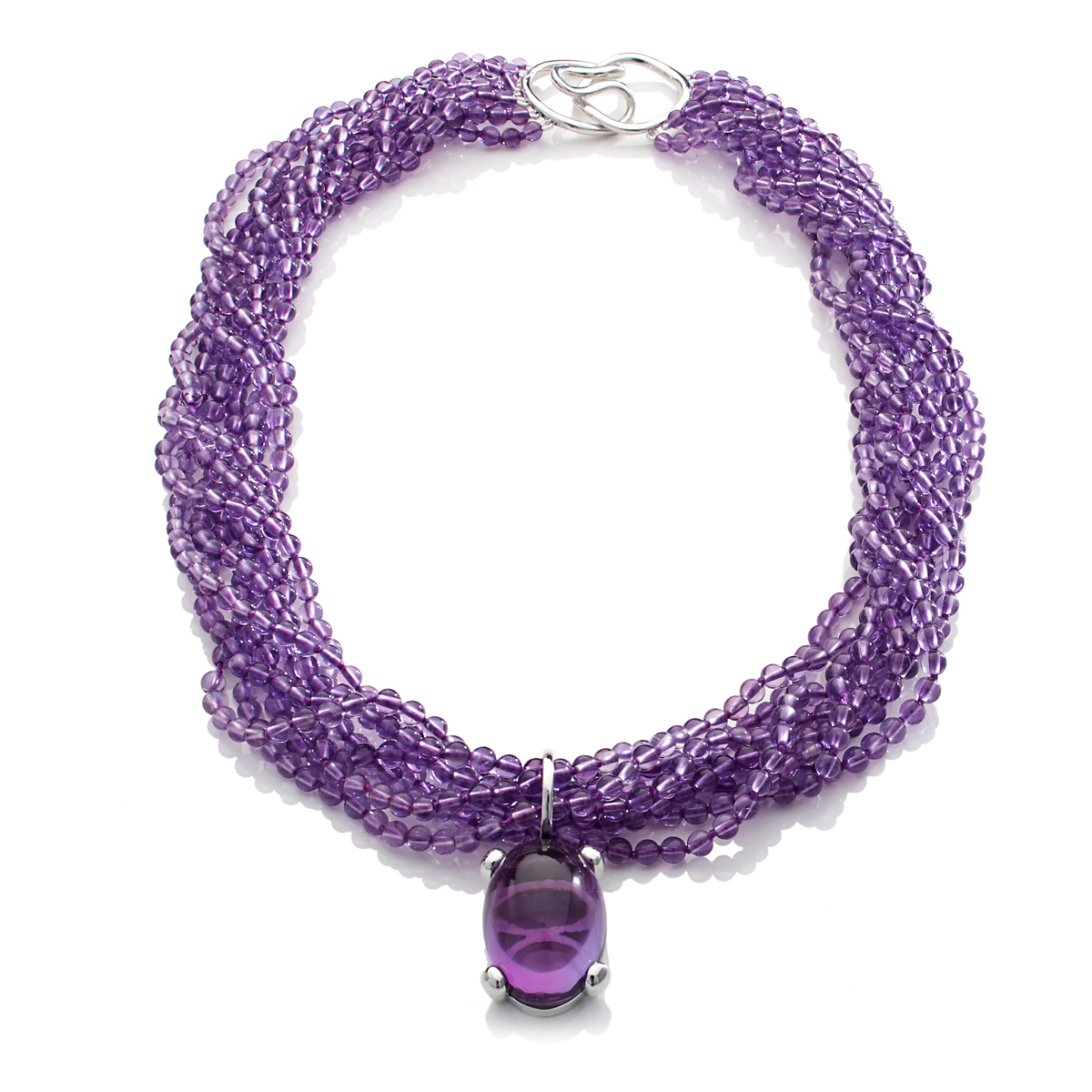 Gump's Eight-Strand Twist & Cabochon Amethyst Necklace