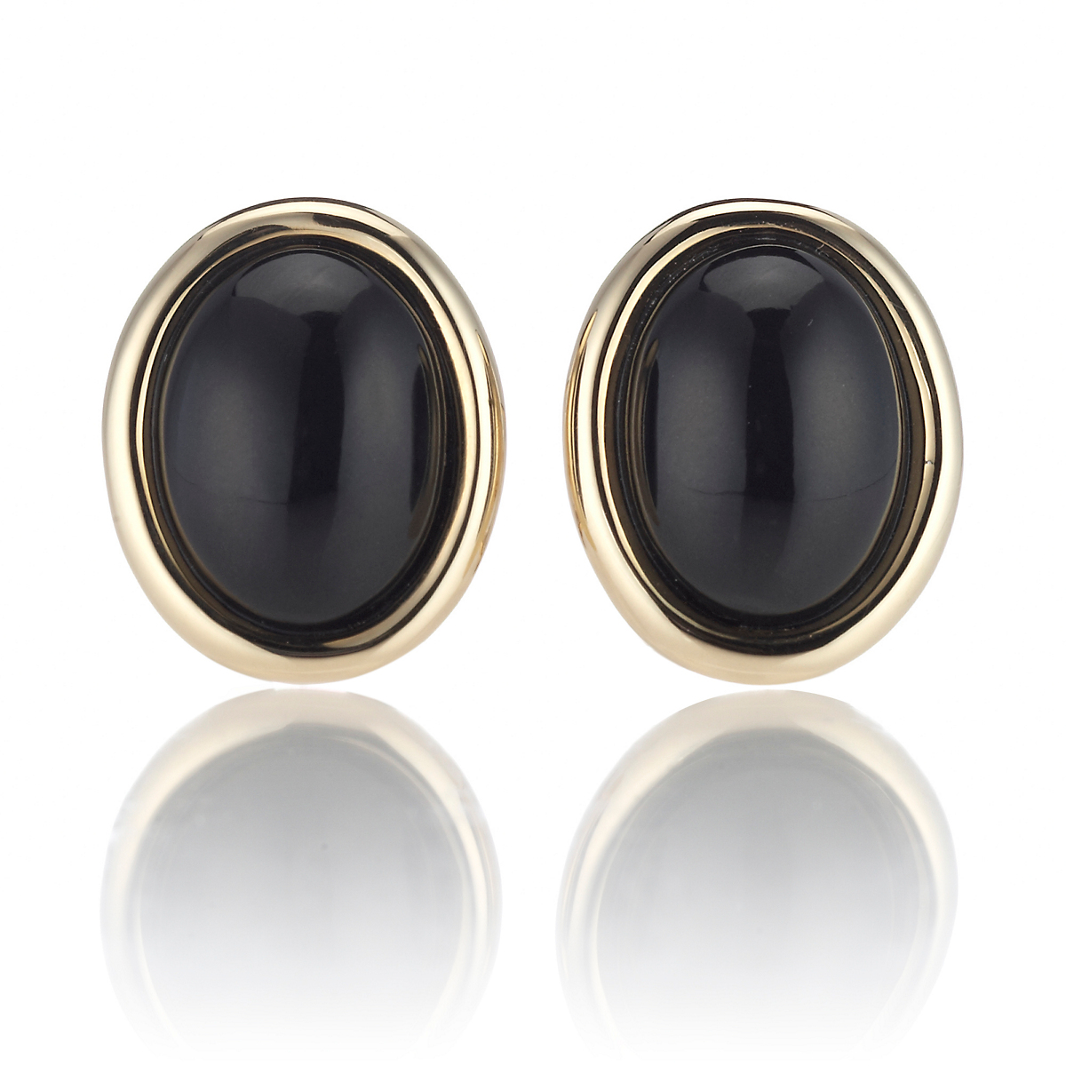 Oval Black Jade & Gold Earrings