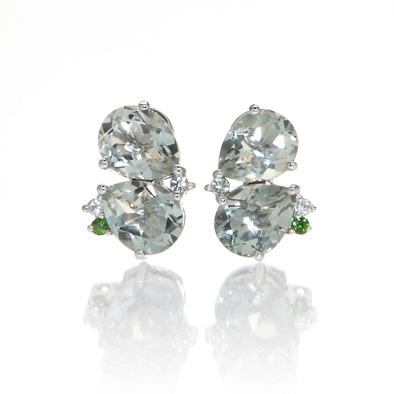 Gump's Faceted Green Quartz & Chrome Diopside Cluster Earrings