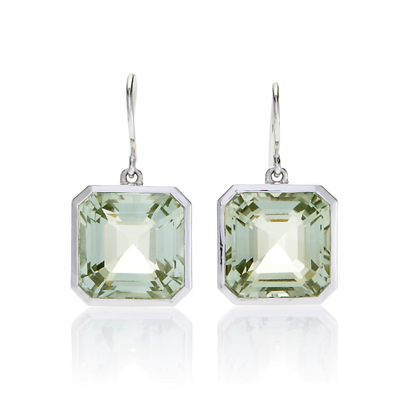 Gump's Sterling Asscher Cut Green Quartz Drop Earrings