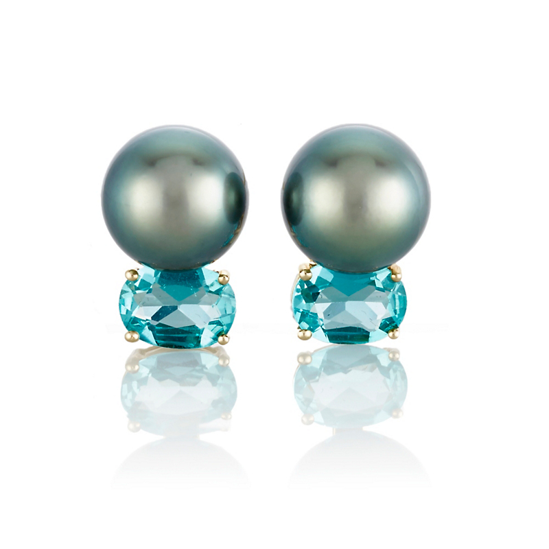 Gump's Tahitian Pearl and Apatite Stud Earrings