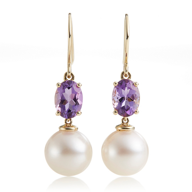 Gump's Amethyst & Pearl Drop Earrings