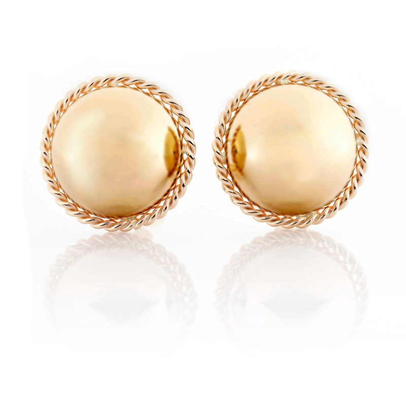 Gold Half Ball With Twist Earrings