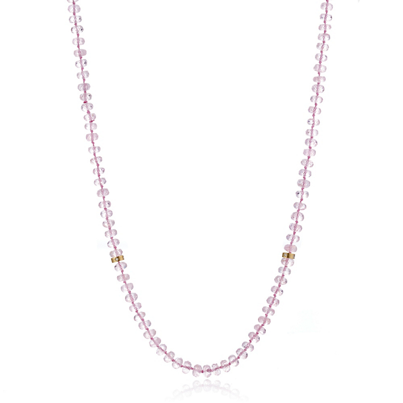 Gump's Faceted Morganite Bead Rope Necklace With Gold & Diamond Stations