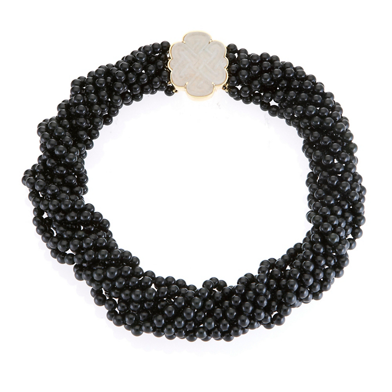 Gump's 10-Strand Black Jade Twist Necklace & White Jade Endless Knot