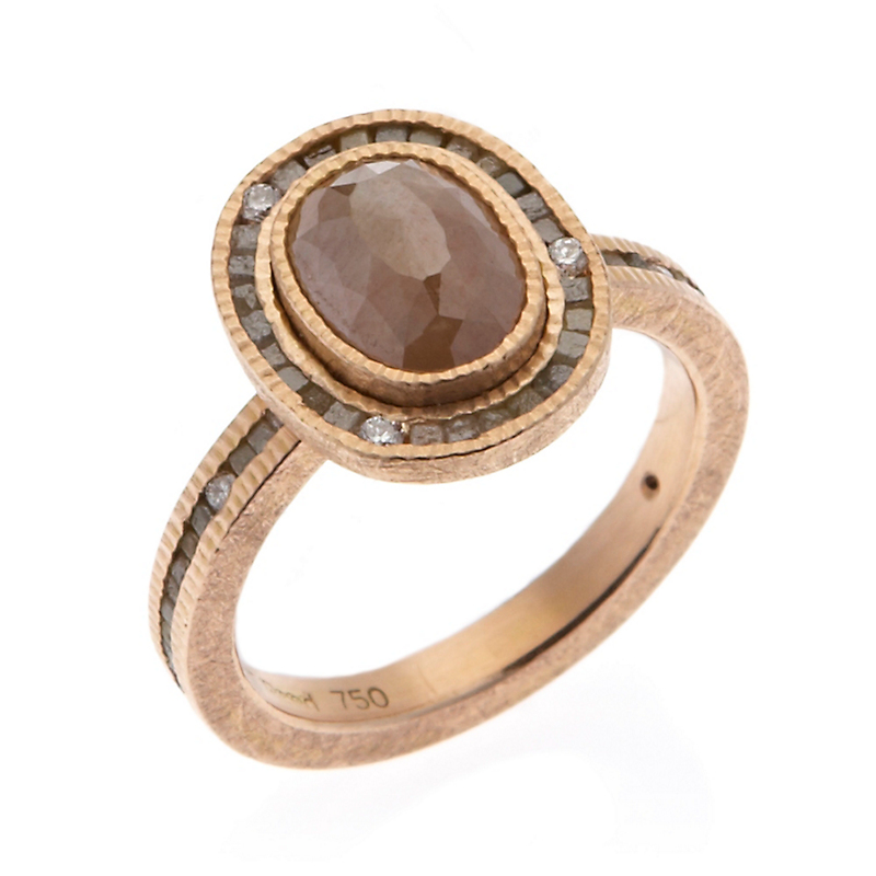 Todd Reed Oval Orange & Raw Cube Diamond Rose Gold Ring