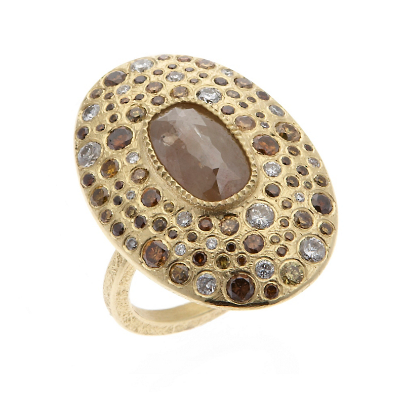 Todd Reed Large Oval Autumn & White Diamonds Ring
