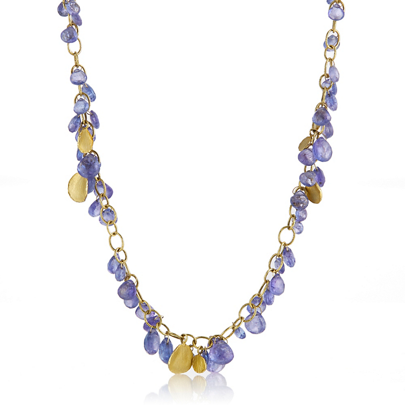 Barbara Heinrich Tanzanite Briolette & Gold Petal Necklace