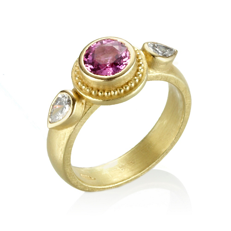 Barbara Heinrich Pink Sapphire & Diamond Granulated Ring
