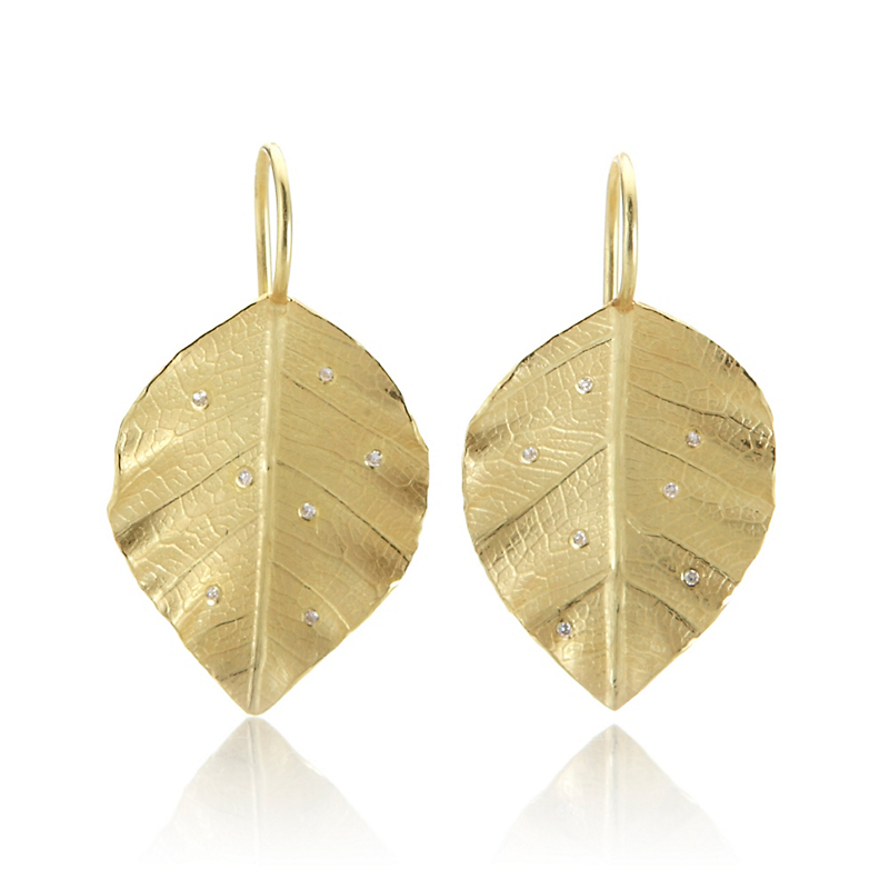Barbara Heinrich Poplar Leaf & Diamond Earrings
