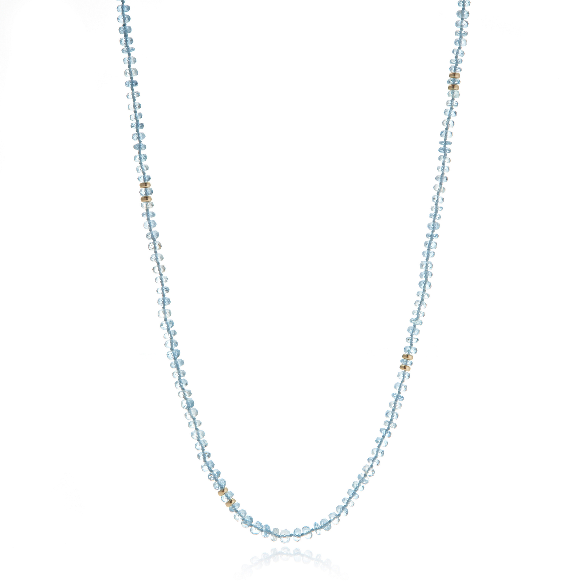 Gump's Faceted Aquamarine & Gold Rondelle Rope Necklace
