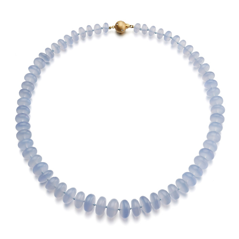 Gump's Chalcedony Rondelles & Gold Graduated Necklace