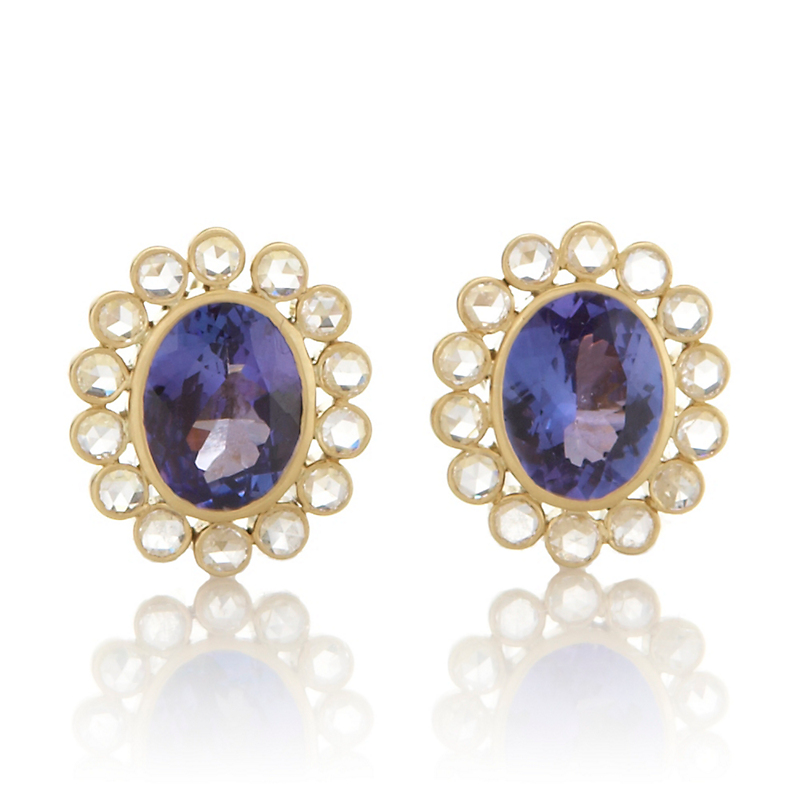 Kothari Oval Tanzanite & Diamond Cluster Earrings
