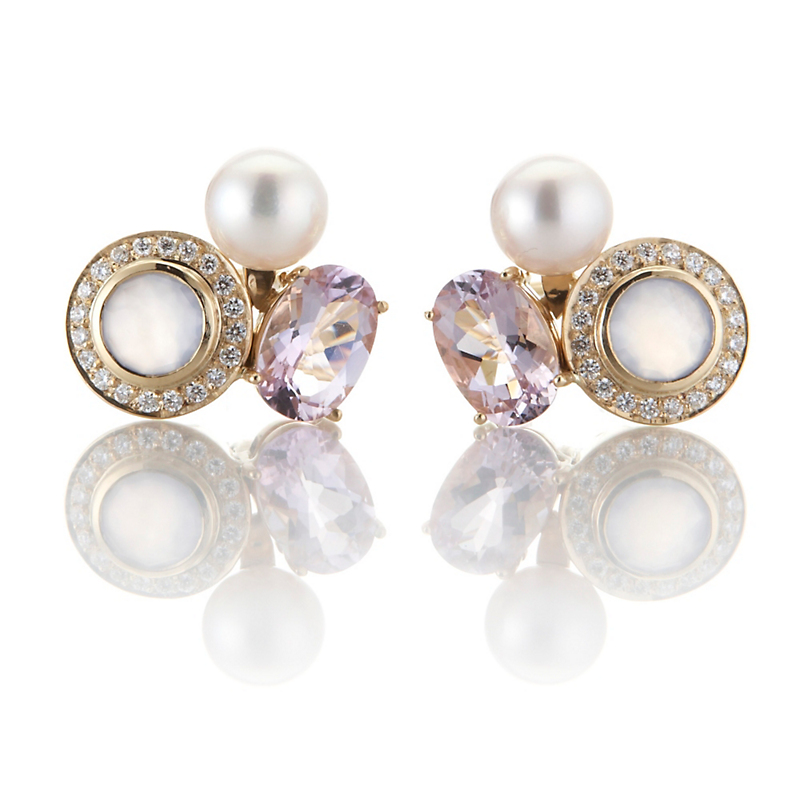 Gump's Akoya, Chalcedony, and Amethyst Cluster Earrings