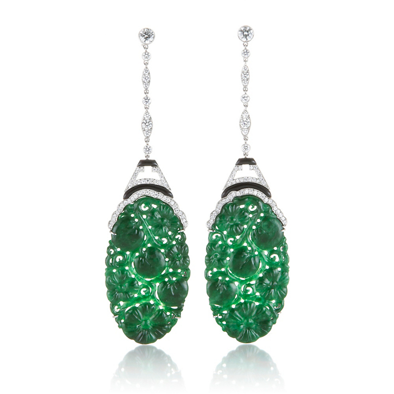 Cicada Carved Oval Jadeite & Diamond Drop Earrings