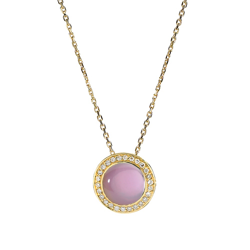 Elizabeth Showers Berry Quartz Mother of Pearl & Diamond Button Pendant & Chain
