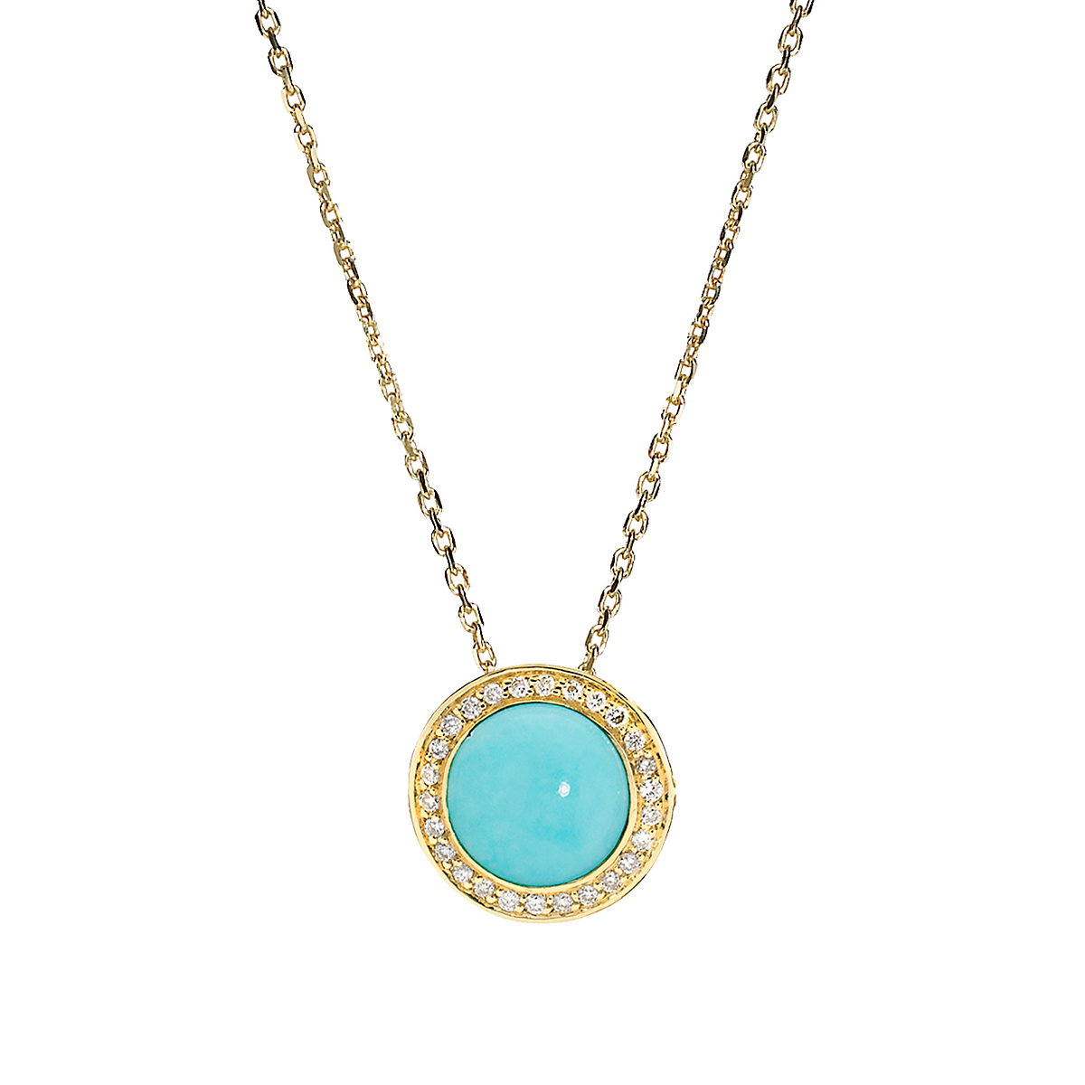 Elizabeth Showers Turquoise & Diamond Button Pendant & Chain