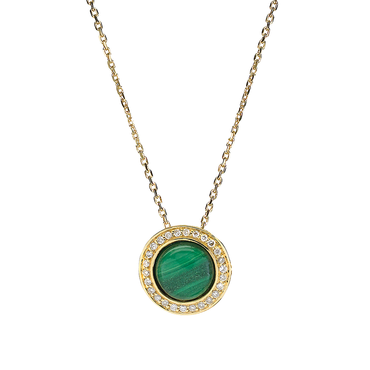 Elizabeth Showers Malachite & Diamond Button Pendant & Chain