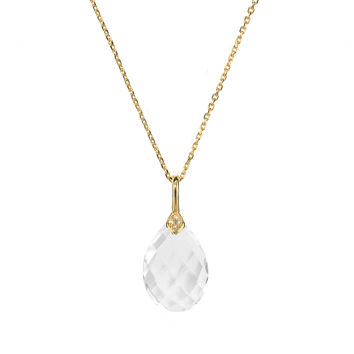 Elizabeth Showers Small Eliza Faceted White Quartz & Diamond Teardrop Necklace