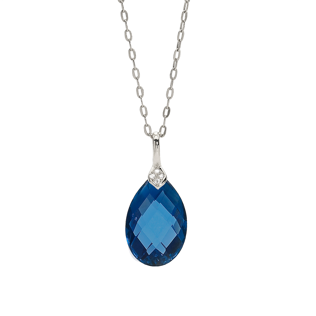 Elizabeth Showers London Blue Sapphire & White Sapphire Eliza Droplet Silver Necklace