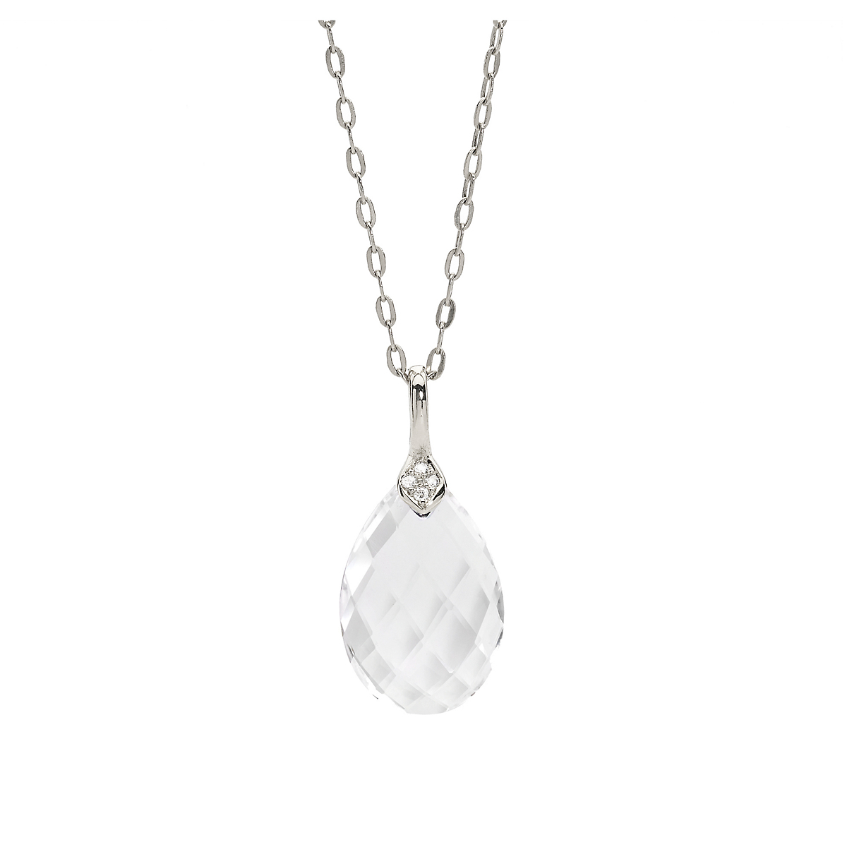 Elizabeth Showers Quartz & White Sapphire Eliza Droplet Silver Necklace