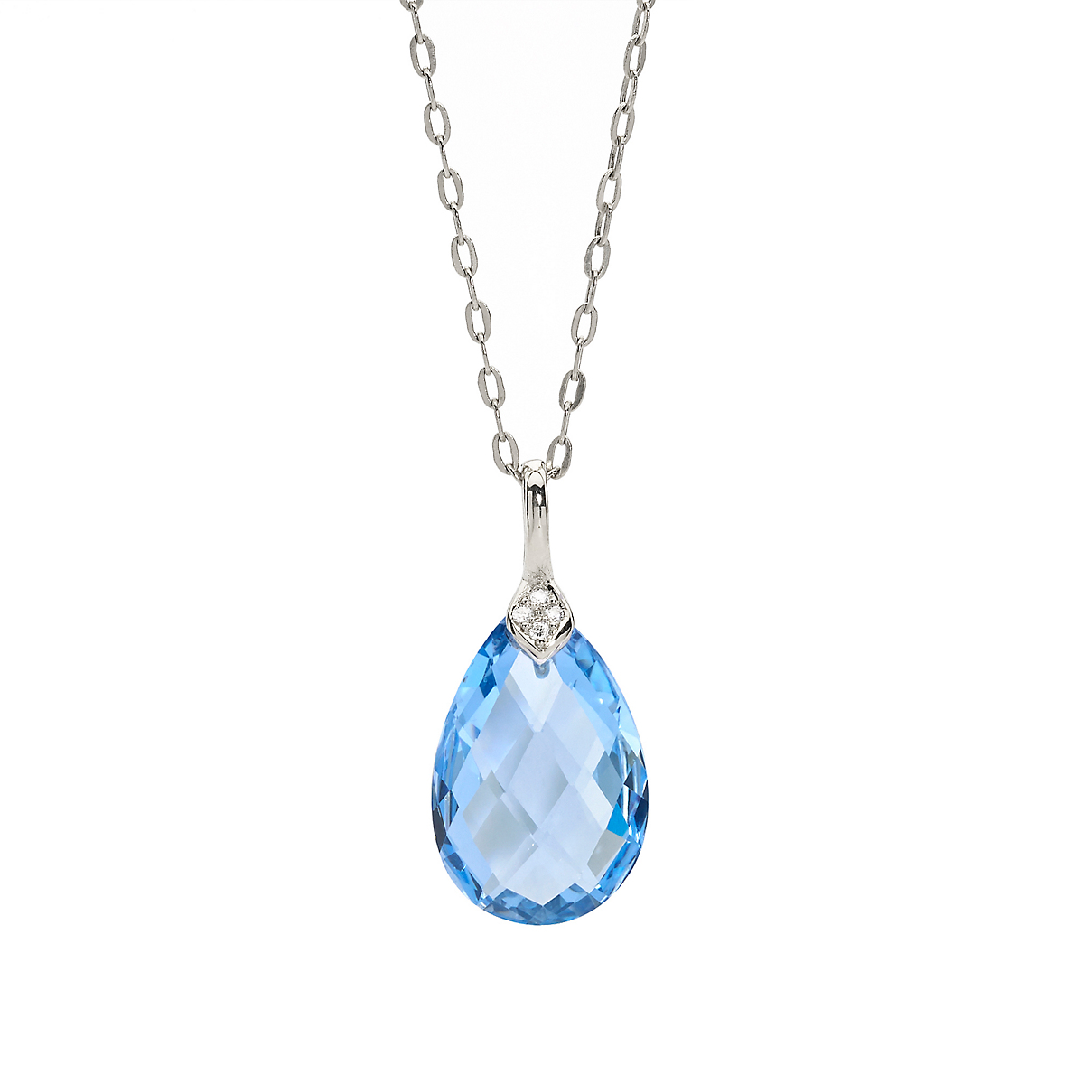 Elizabeth Showers Swiss Blue Topaz & White Sapphire Eliza Droplet Silver Necklace