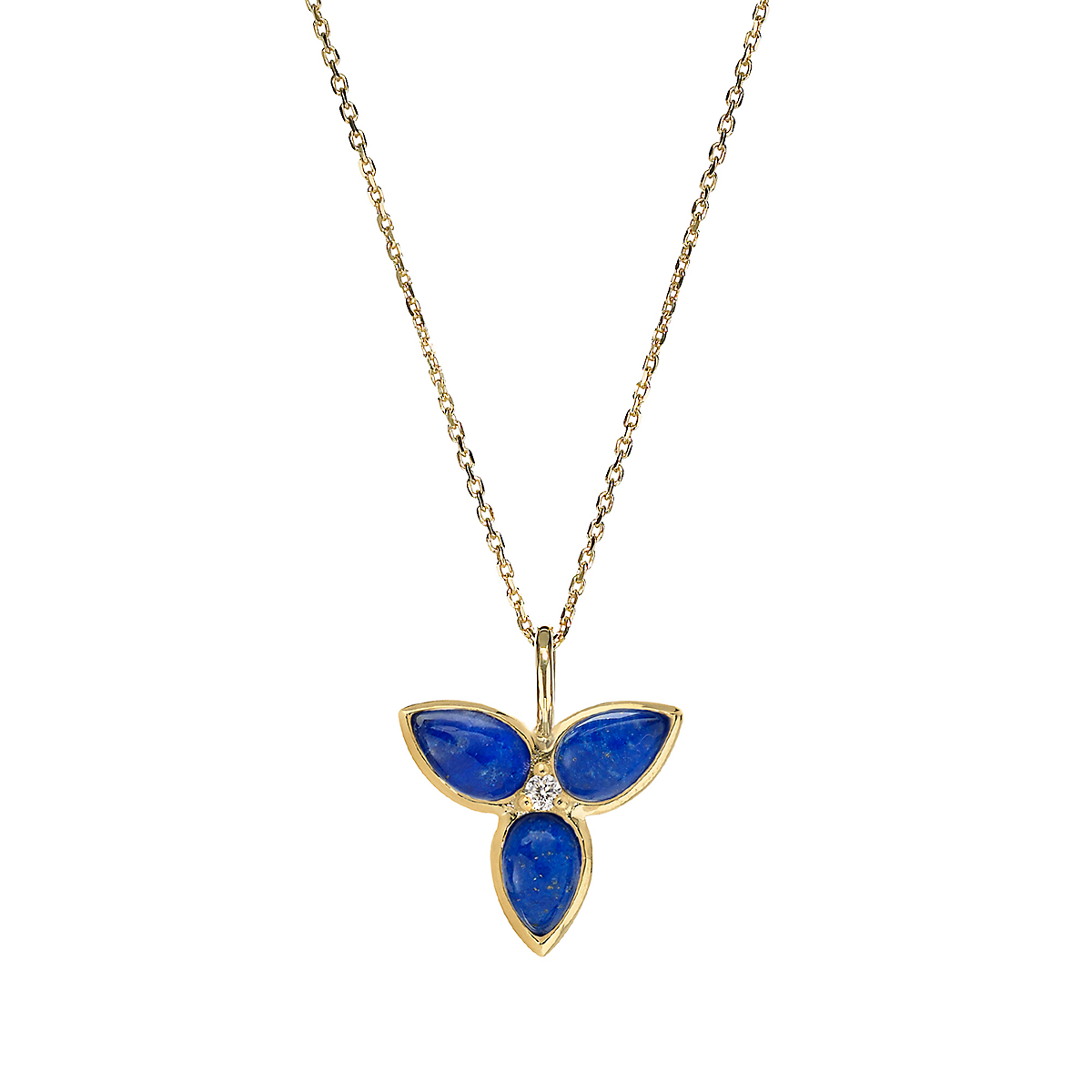 Elizabeth Showers Lapis Quartz & Diamond Mini Mariposa Pendant & Chain