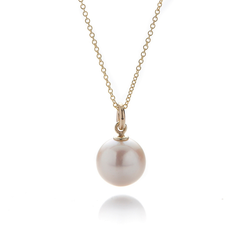 Gump's White Round Pearl 10mm Pendant Necklace