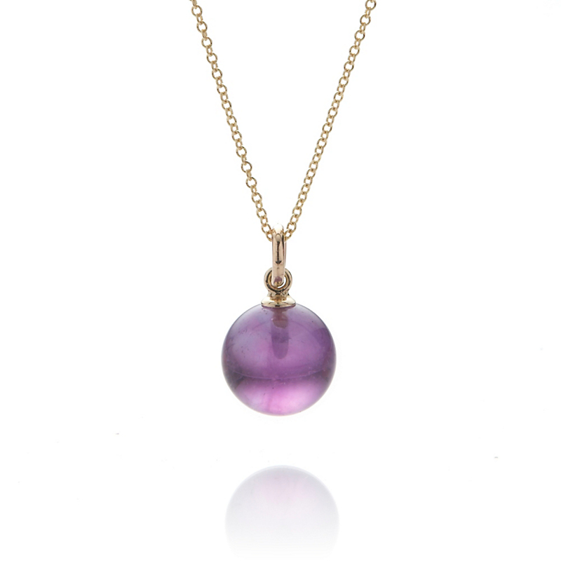 Gump's Amethyst Bead 10mm Pendant Necklace