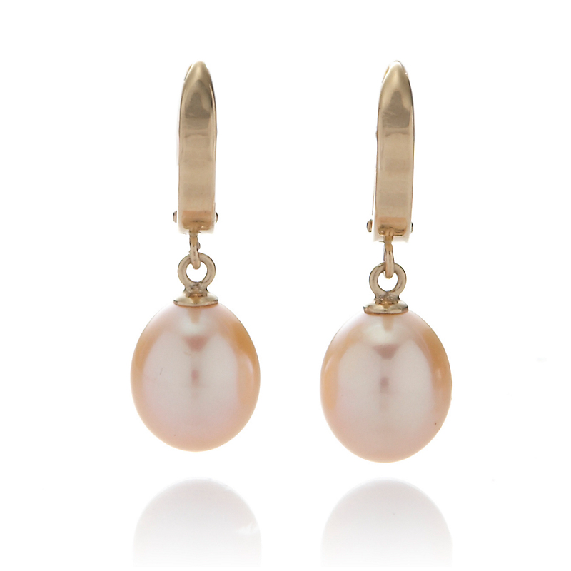 Gump's Gold Hoop & Pastel Pearl Oval Drop Earrings